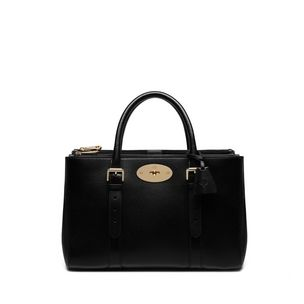 bayswater-double-zip-tote-black-small-classic-grain