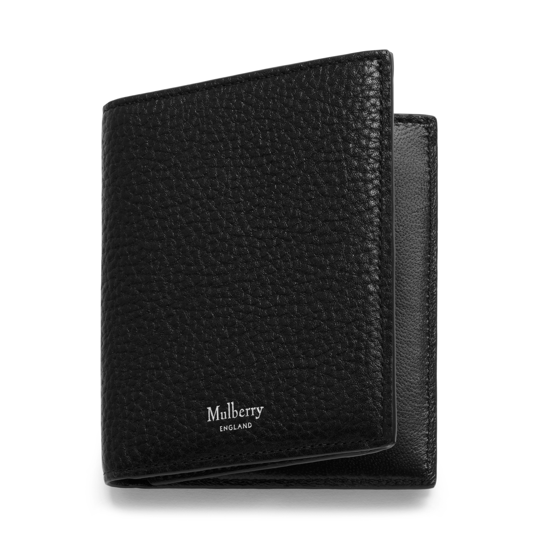 8770744cc3 Trifold Wallet | Black Natural Grain Leather | Men | Mulberry