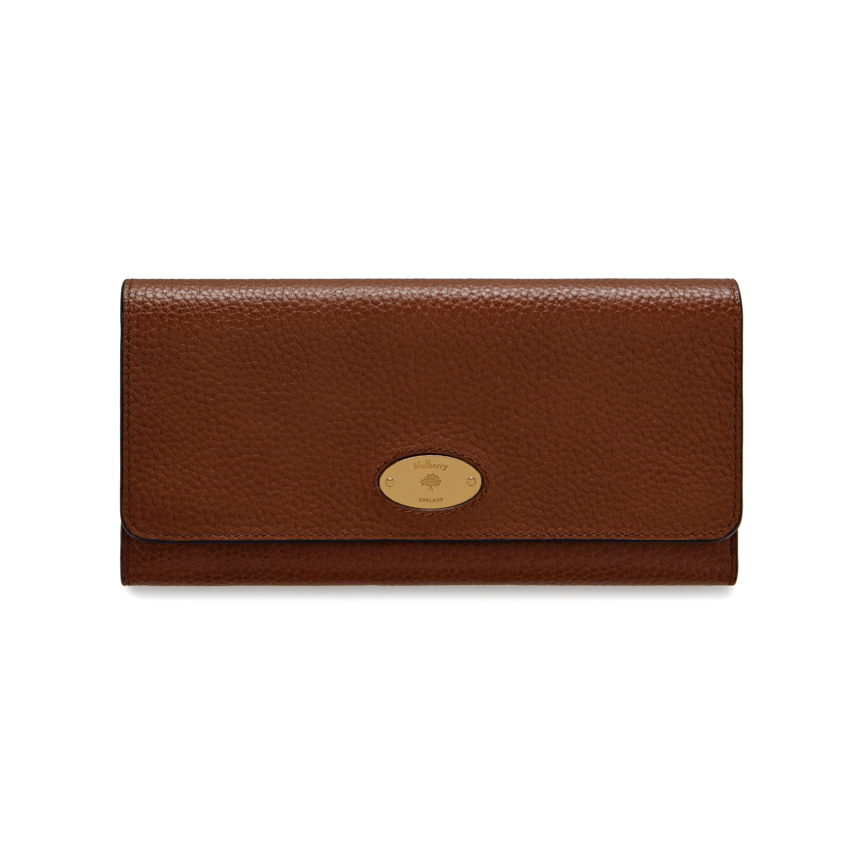 62d02209c Mulberry Plaque Long Wallet | Oak Natural Grain Leather | Family ...
