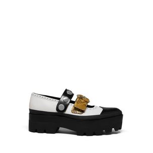 track-double-strap-flat-black-white-calf-nappa-canary-python