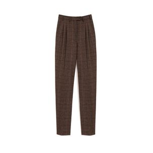 evelyn-trousers-dark-brown-flecked-wool-check