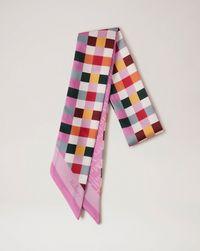 multi-colour-check-&-logo-bag-scarf