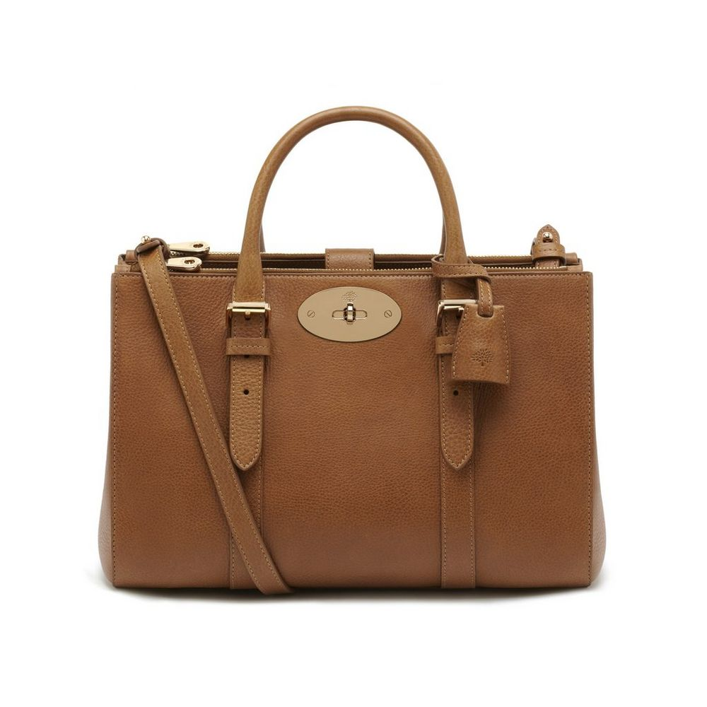 Small bayswater double zip tote oak natural leather for The bayswater