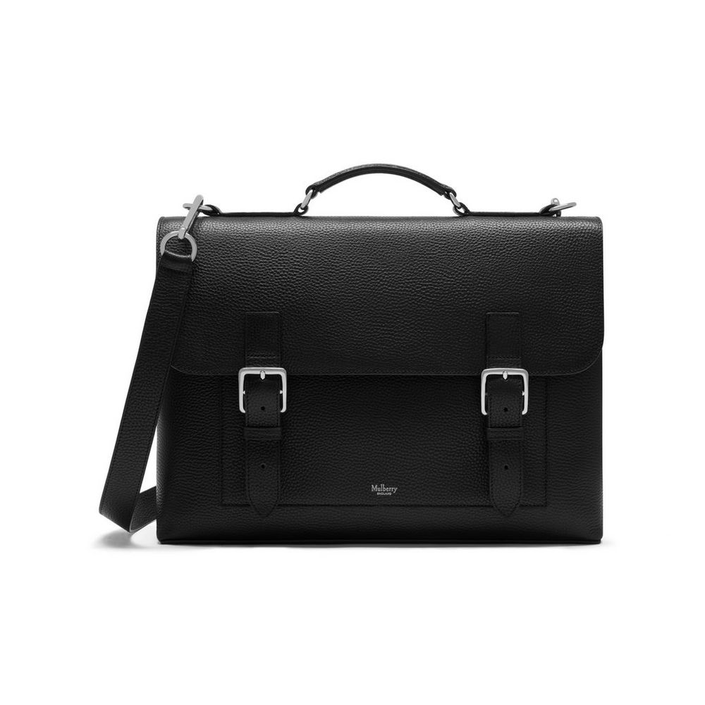 chiltern briefcase black natural grain leather chiltern mulberry