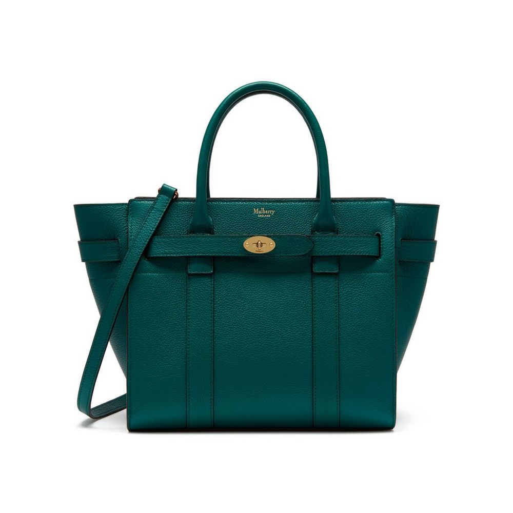 1319728270 Small Zipped Bayswater | Ocean Green Small Classic Grain | Zipped ...