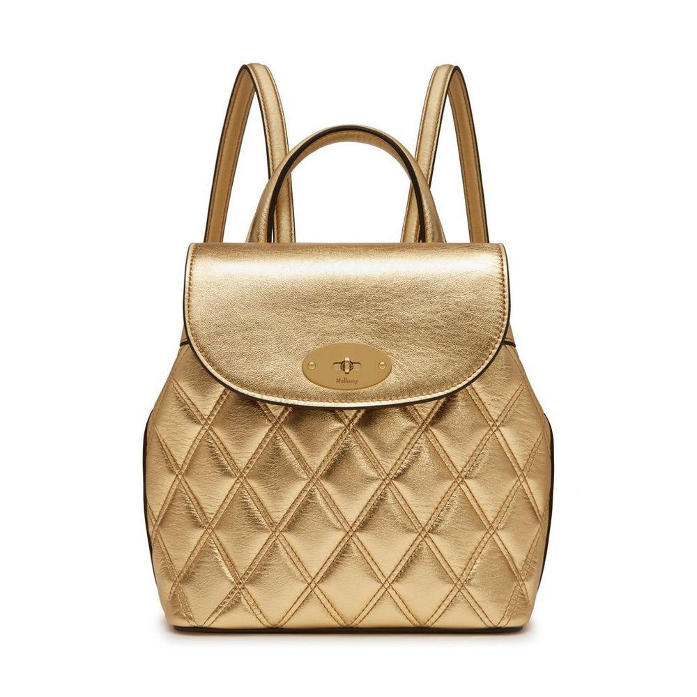 Mini Bayswater Backpack   Gold Metallic Smooth Calf   Family   Mulberry e0eb4dd384