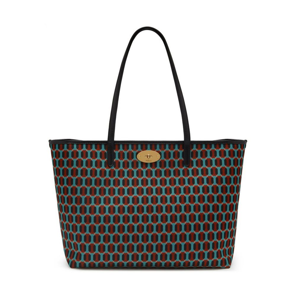 bayswater tote pale slate printed nylon octagon women