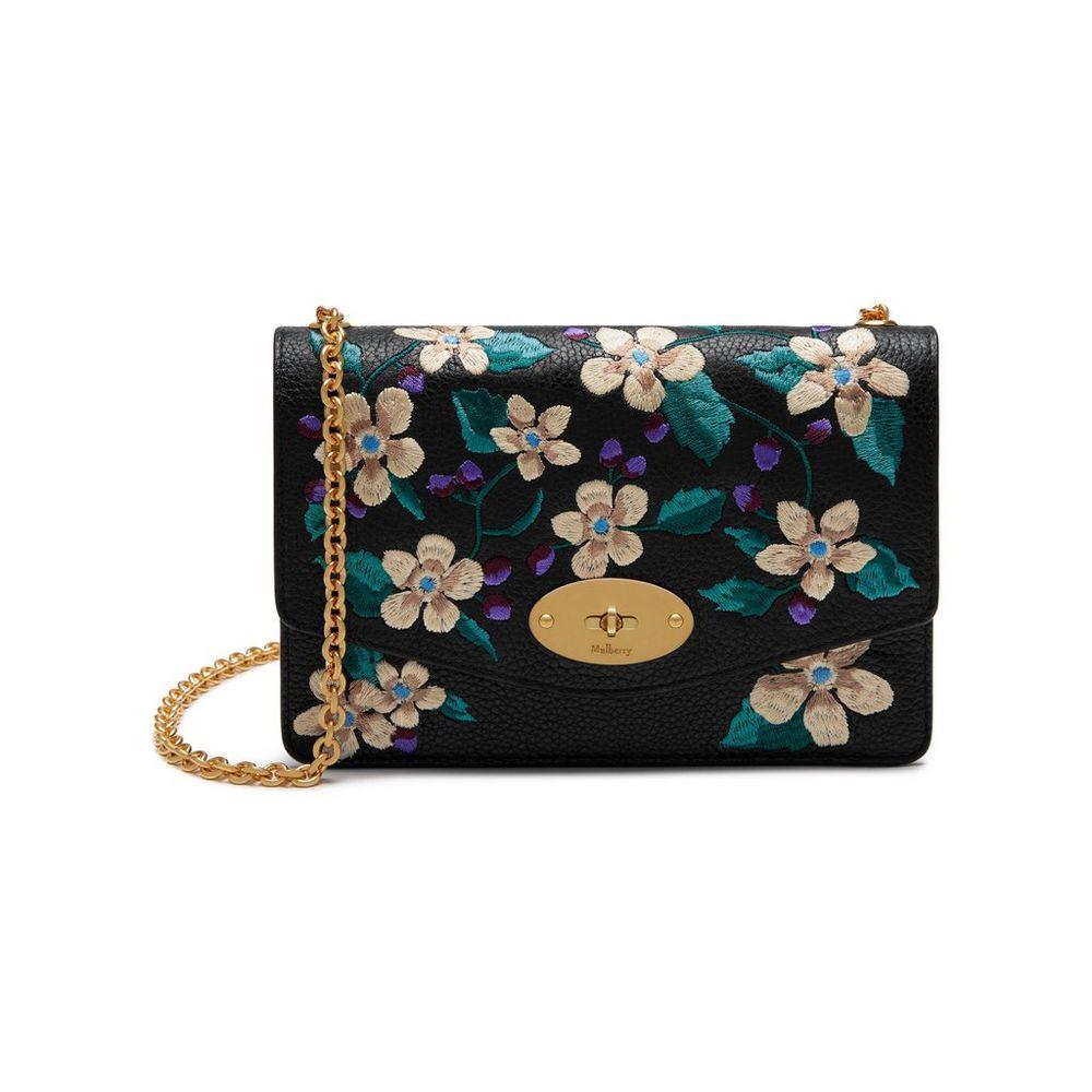 fe0b8a06bb5 Small Darley | Black Flower Embroidery Small Classic Grain | Women ...