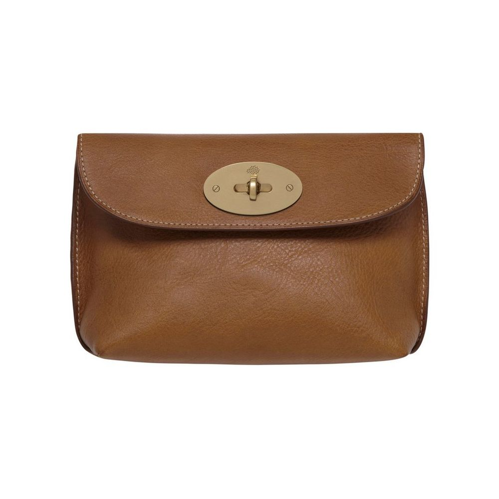 Purse : Locked Cosmetic Purse Oak Natural Leather With Brass ? 250