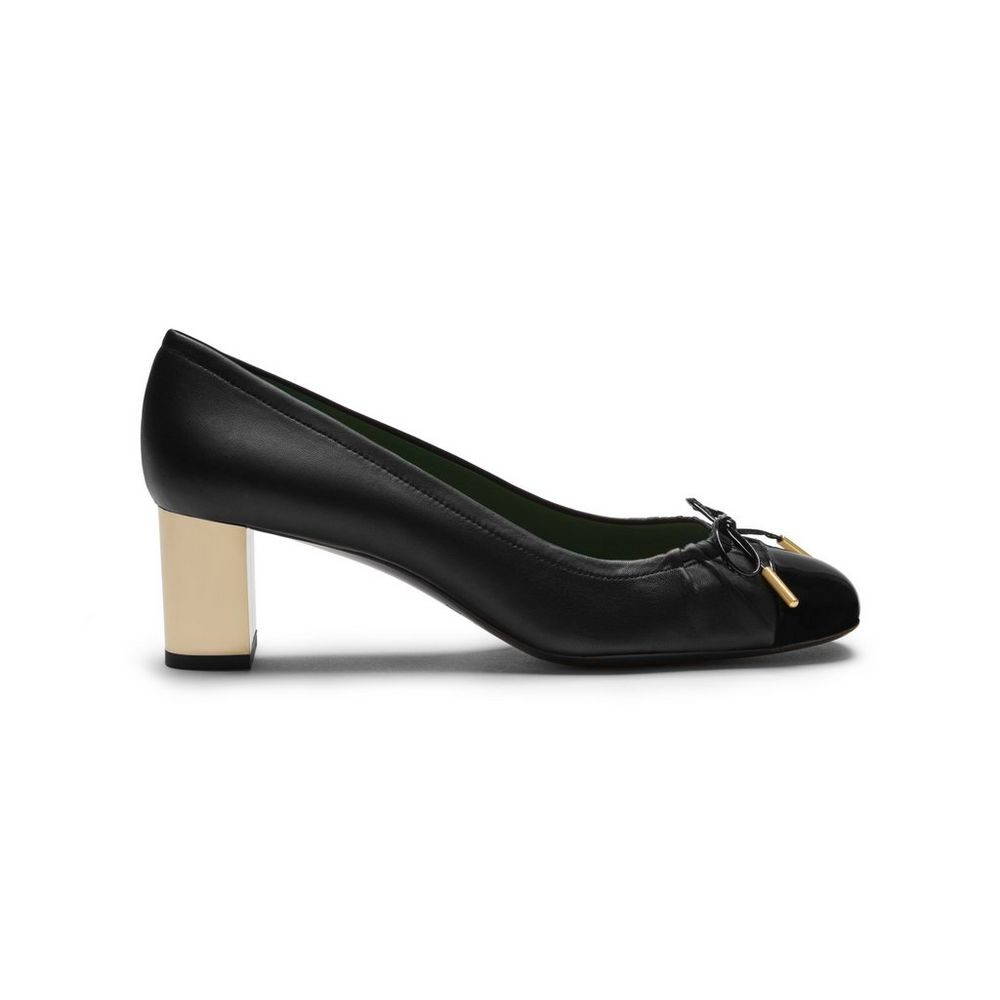 Opera Cap Toe Pump Black Soft Lamb Nappa   Patent