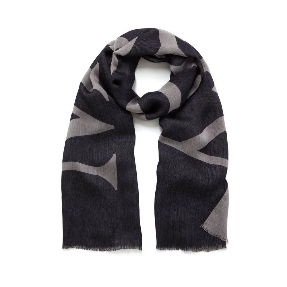 logo jacquard scarf black silk viscose women mulberry