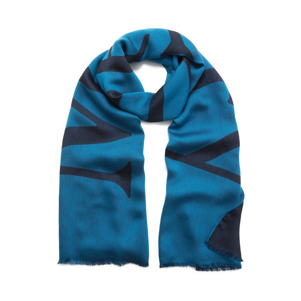 logo jacquard scarf porcelain blue silk viscose women
