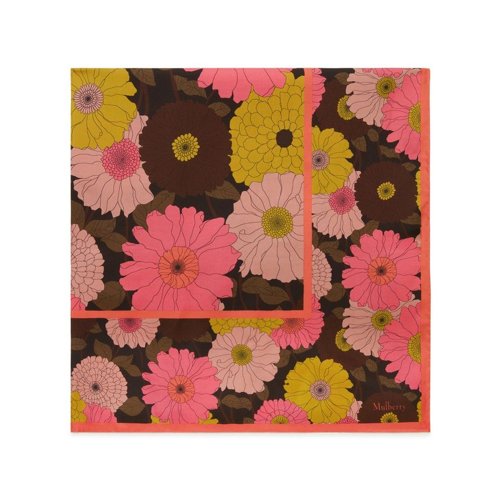 Daisies flower double square chocolate brown silk women mulberry daisies flower double square chocolate brown silk izmirmasajfo